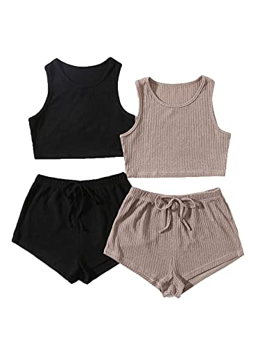 SheIn Women's 4 Pieces Rib Knit Lounge Set Crop Tank and Knot Shorts Pajama Set Multicoloured Medium