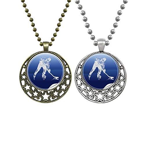 Deportes de invierno patinaje y hockey sobre hielo amantes de la acuarela collares colgante retro luna estrellas joyería