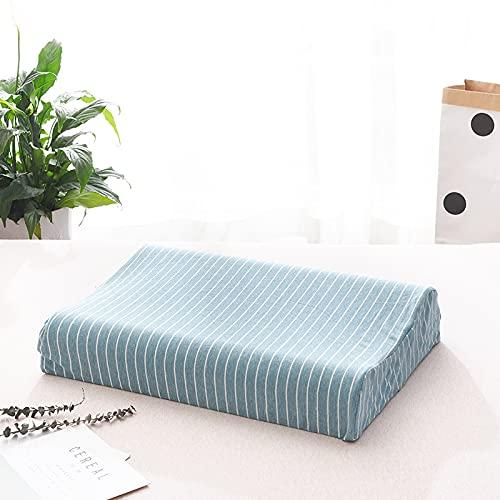 CNYG Almohada suave para el cuello, diseño de rayas, para dormir, látex, espuma viscoelástica, almohada de cama para dormir lateral, espalda azul (espuma de memoria) 50 x 30 x 7/9 cm