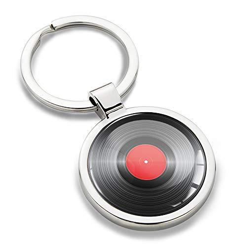 Biomar Labs® Schlüsselanhänger Metall Keyring Autoschlüssel Geschenk Metall-Schlüsselanhänger Schlüsselbund Edelstahl Schallplatte Musik Emblem, KK 183
