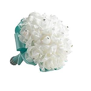 Jungen ramo de novia de boda, flores artificiales ramilletes con cristal perla a mano espuma rosas