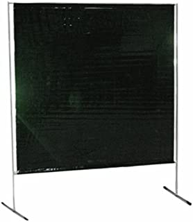Sellstrom S97240-3 Cepro Vinyl Gazelle Welding Curtain and Lightweight Frame Kit, 6' Width x 6' Height x 14 mil Thick, (Transparent Green)