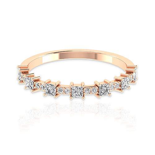 Anillo de eternidad de diamantes certificado IGI de 0,58 ct, antiguo, apilable, para bodas de novia, mínimo día de la madre, anillo a juego, 18K Oro rosa, Size:EU 50