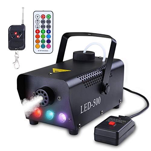 Asmuse Tragbar Nebelmaschine mit Kabelloser Fernbedienung und Buntes LED Licht Sicher 500W Aufwärmzeit 3-5 Minuten Passend für Weihnachten Hochzeitsfeiern und Bühnenauftritte
