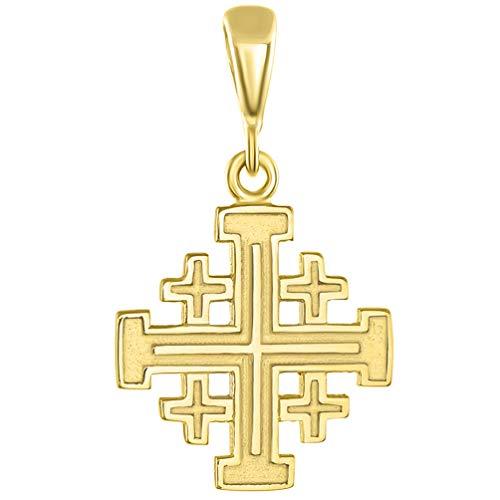 Solid 14K Yellow Gold Crusaders Jerusalem Cross Pendant