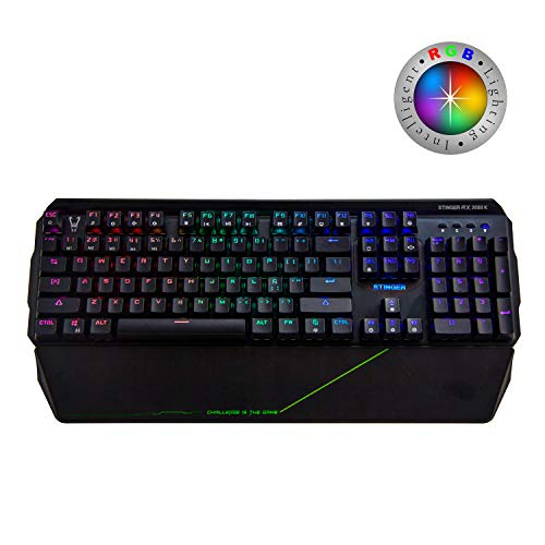 Woxter Stinger RX 2000 K - Teclado Gaming Mecánico, Estructura de Aluminio, Micro Switch, Led RGB Cada tecla, Cable de Nylon, Compatible PC/PS4/Fortnite/Apex LegendsWoxter Stinger RX 2000 K