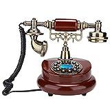 Sxhlseller Pulsador de Teléfono - Identificador de Llamadas FSK y DTMF Teléfono Antiguo para Regalos/Sala de Estar/Dormitorio Junto a la Cama/Estudio MS-6100B Teléfono Europeo de Estilo Retro