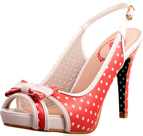 Banned Damen Schuhe Mary Lou Punkte Polka Dots Sling Pumps Rot Peep-Toe 37