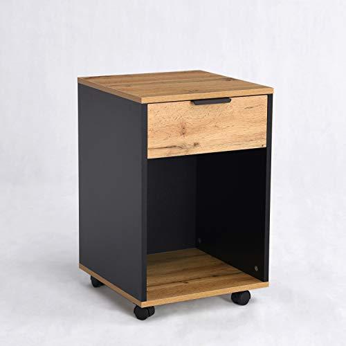 Aktenschrank mit Schublade, Rollcontainer mit offenem Fach, Bürocontainer mit Rädern, Schreibtisch Container für Home Office, Industrie-Design, Wildeiche-Grau, 40cm breit, B&D home