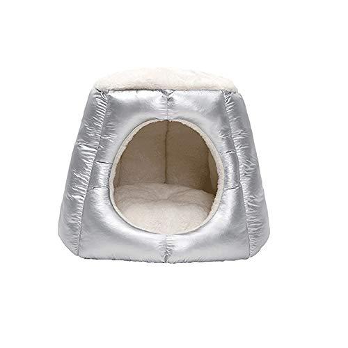 Dog bed Pet Nest halbgeschlossenen Katze liefert waschbares Haustierhaus Pet Supplies (Color : Silver)