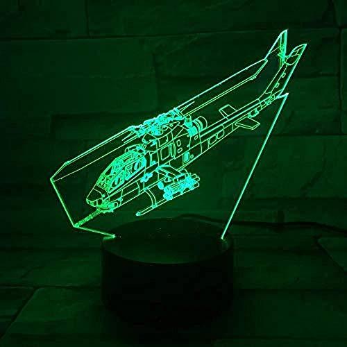 USB 3D Led Luz Nocturna Ah1 Helicóptero Cobra World of Warcraft Modelo De Avión Phantom Fighter Luces Decorativas Fighter Lámpara de mesa Mesita de noche