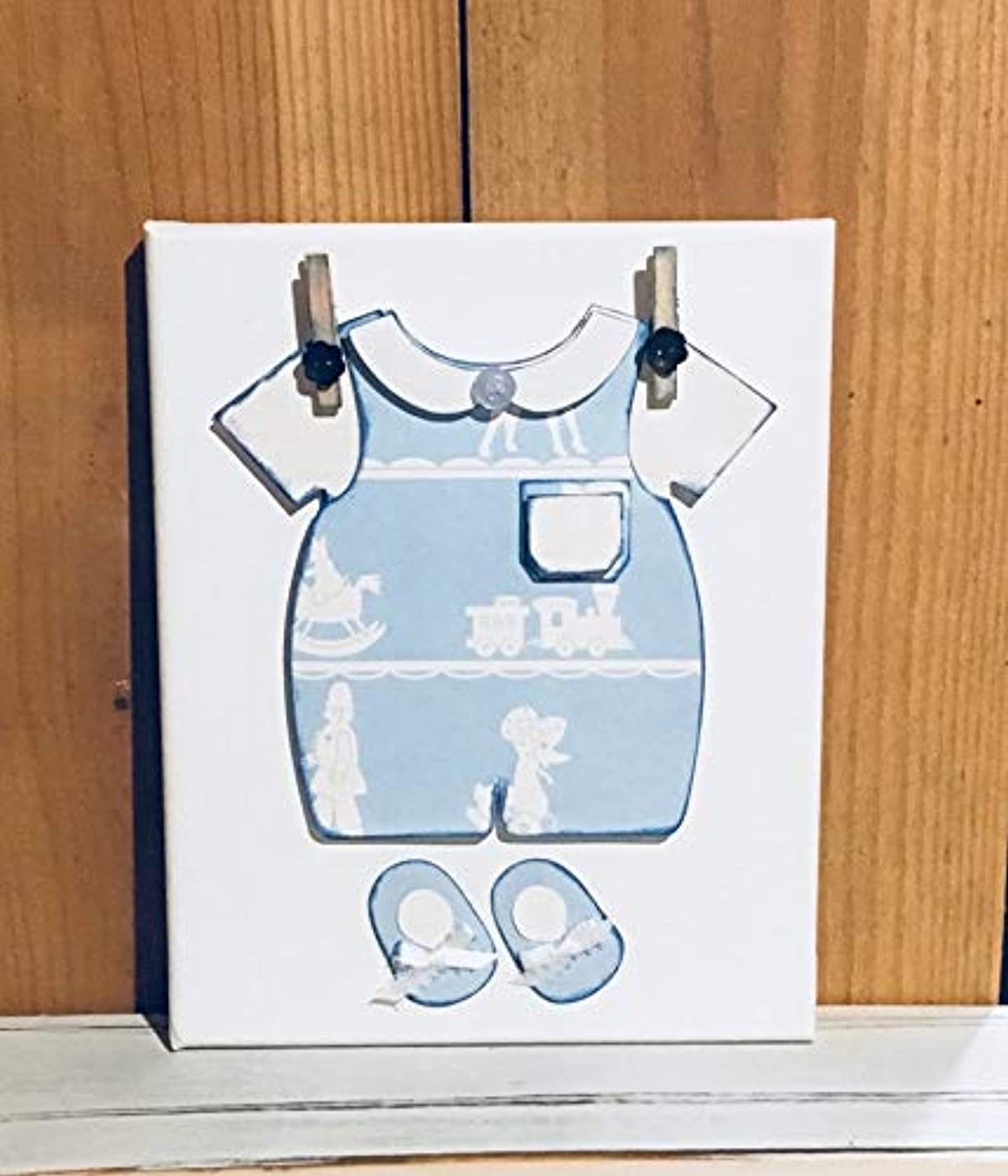 Home Decoration Blue and White Paper Baby Boy Outfit 8 x 10 Canvas Wall Hanging, Nursery Decor, Wall Hanging