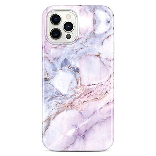 Jaholan Coque iPhone 12 iPhone 12 Pro Coque TPU Gel Housse Etui Protection Ultra Fine Mince Léger Case Souple Coque pour iPhone 12/12 Pro 2020 6.1 Pouce - Marbre Purple Pink
