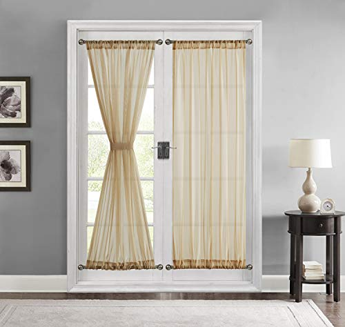 HLC.ME Sheer Voile French Door Patio Sidelight Window Treatment Curtain Panels with Tieback for Kitchen - 2 Panels (Antique Taupe, 54 W x 72 L)