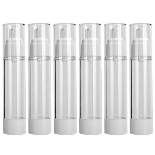 Restokki 50ml 6pcs Botella de Bomba vacía Botella dispensadora de plástico Botella Recargable al vacío Botella cosmética ump