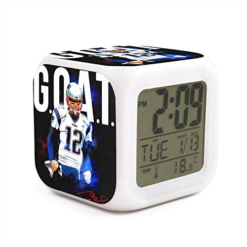 Easy Setting Digital Travel Alarm Clock Large Display Time & Month & Date & Temperature &Alarm Handheld Sized, Best Gift for Kids and Family (Tom New England Goat Big & Tall)