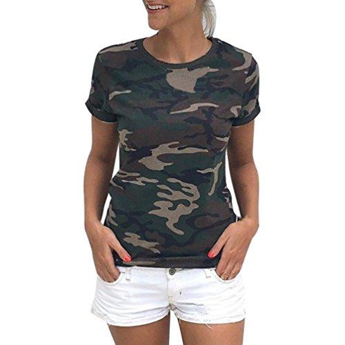 winwintom Las Mujeres Casual Camiseta Camuflaje de Manga Corta de Verano Camisa Blusa