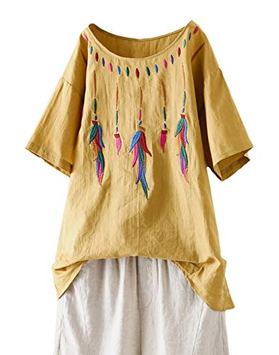 Minibee Women's Boho Embroidered Tops Short Sleeve Bohemian Linen Shirts Casual Mexican Blouses Yellow XXL
