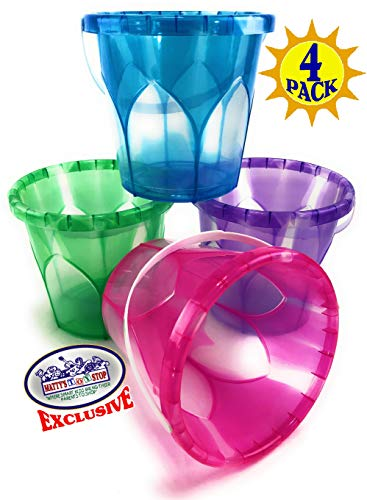 Matty's Toy Stop Beach Gear 6.5' Opaque Plastic Sand Buckets (Pails) Blue, Pink, Green & Purple Party Set Bundle - 4 Pack