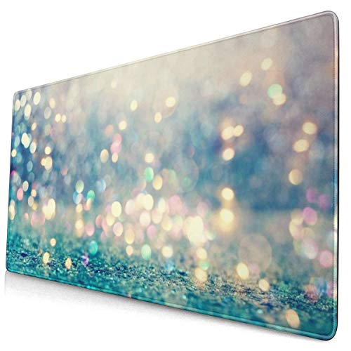 Nice Blue Glitter Design Pattern XXL XL Large Gaming Mouse Pad Mat Long Extended Mousepad Desk Pad Non-Slip Rubber Mice Pads Stitched Edges (29.5x15.7x0.12 Inch)