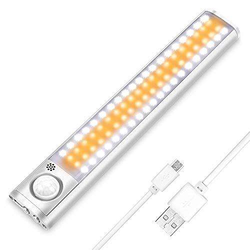 Luce Armadio, LED Armadio Sensore Movimento Luce con USB Ricaricabile 80 LED Luci Camera da Letto con Striscia Magnetica Adesiva,Luci da Esposizione (regolabili in 3 colori)