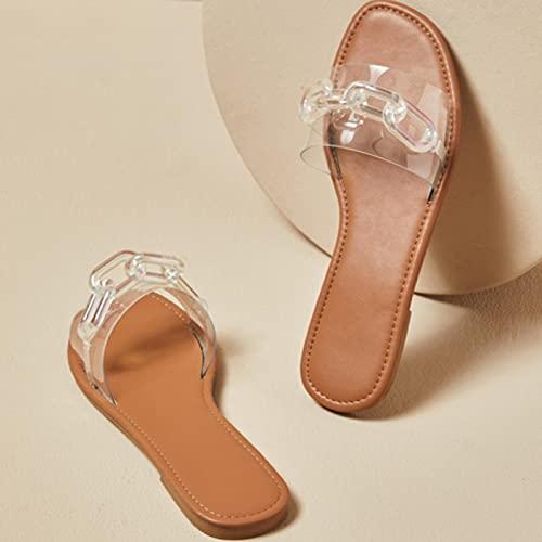 JUSTMAE Zapatos de Mujer 2021 de Fondo Plano, Novedad de Verano, Moda, Cadena Transparente de PVC, Sandalias de tacón Plano para Mujer, Zapatillas perezosas para Mujer, marrón