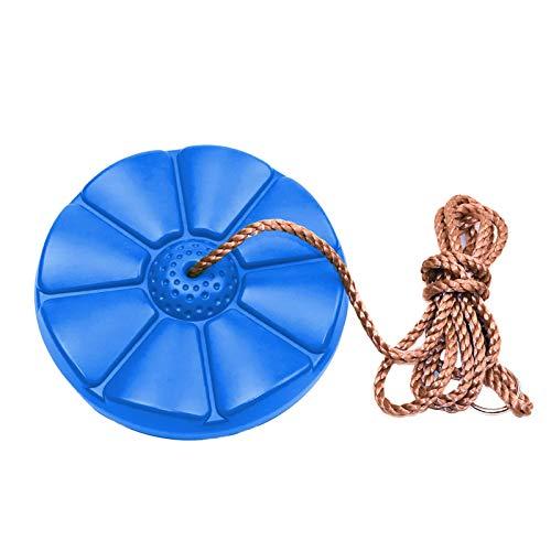 Sasaly Columpio para niños con asiento de pétalos para deportes al aire libre, cuerda de escalada de disco Swing 11 pulgadas (AA-azul, talla única)