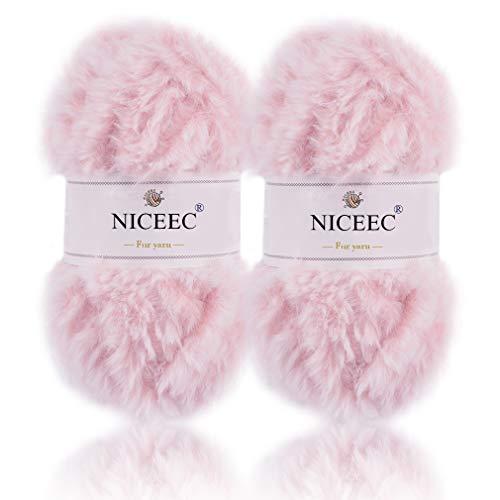 NICEEC 2 Skeins Super Soft Fur Yarn Chunky Fluffy Faux Fur Yarn Eyelash Yarn for Crochet Knit-Total Length 2×32m(2×35yds,50g×2)-Light Sakura Pink