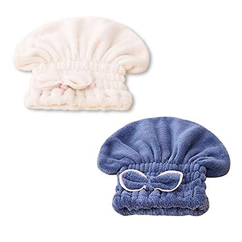 Moligh doll 2 PièCes SéRies RéGlable Microfibre Mignon SéChage des Cheveux Cap, Microfibre SéChage Rapide Cheveux Serviettes, Bain SèChe Caps