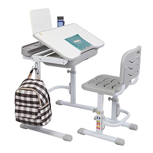 JOYMOR Kids Functional Desk and Chair Set, Height Adjustable Children Study Table with Tilting Desktop, Bookstand, School Students Workstation (Grey)