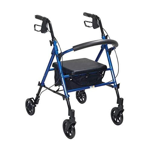 Medidu Leichtgewicht Faltbarer Rollator - Inklusive Tablett und Korb - Einfach Faltbar für Kofferraum klappbar Reise - Höhe verstellbar - Blau