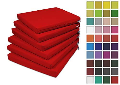 Rollmayer 6er Set Stuhlkissen Stuhlauflage Sitzkissen Sitzpolster Auflage für Stühle in Haus und Garten Kollektion Vivid (Rot 12, 40x40x4cm)