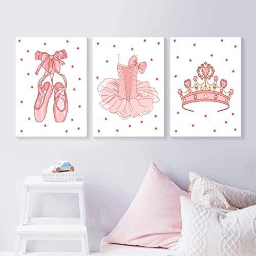 Arte de la Pared de la Lona 3 Piezas 50x70cm sin Marco Zapatos de Ballet Rosados Tutu Crown Poster Nursery Princess Nordic Wall Art Print Pictures Baby Girl Room Decor
