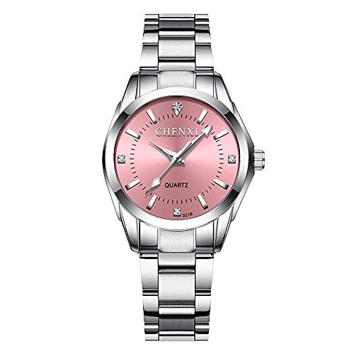 Reloj Para Mujer Reloj de Pulsera CláSico De Negocios,Banda de Acero,Elegantes Relojes de Cuarzo de Acero Inoxidable(Rosado)