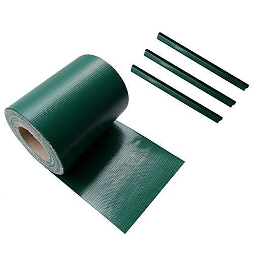Ventanara Zaun Sichtschutzstreifen PVC für Stabmattenzaun Zaunfolie Grün 19 cm x 40 m inklusive 25 Befestigungsclips