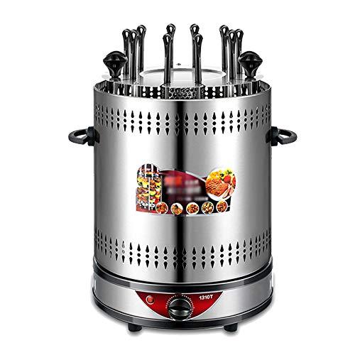 Unbekannt Vertikal Tischgrill 1350W, Elektro Tischgrill Multifunktionsgrill Döner Grill Kebap für Shawarma Grill für Gyrosgrill Schaschlikspieße - 8/10 Spieße