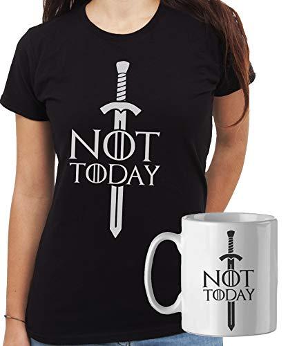 iMage Promo T-Shirt con Tazza Mug Abbinata Arya Cosa Diciamo al Dio della Morte: Non Oggi Game of Thrones Quotes-Serie TV - Donna M - Nera