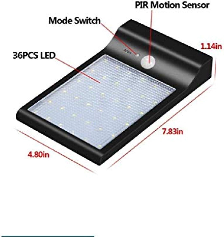 Solarleuchten im Freien 36 LED Super Bright Solarleuchten mit Bewegungssensor Solarbetriebene Sicherheit Wandleuchte Beleuchtung für Garten, Zaun, Weg [2er Pack]