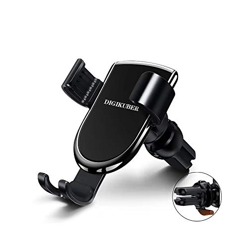 DigiKuber Handyhalter fürs Auto Lüftung KFZ Handyhalterung Handy Klammer Für iPhone XS MAX/XS/XR/X/8/7/6P, Galaxy Samsung S9/S8/S7, Huawei Schwarz, Schwerkraft 180° Drehbarem