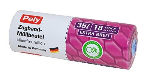 306 Stück Pely Müllbeutel klimafreundlich Anti-Geruch mit Zugband für 35 Liter, Extra breit 61cm. 1 Karton mit 17 Rollen. Jede Rolle hat 18 pely Zugbandbeutel