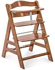 Hauck H-66113-EN-000-C03 Drewniane Wysokie Krzesło z Regulacją Wysokości, Orzech Włoski, 48 x 56 x 80 cm