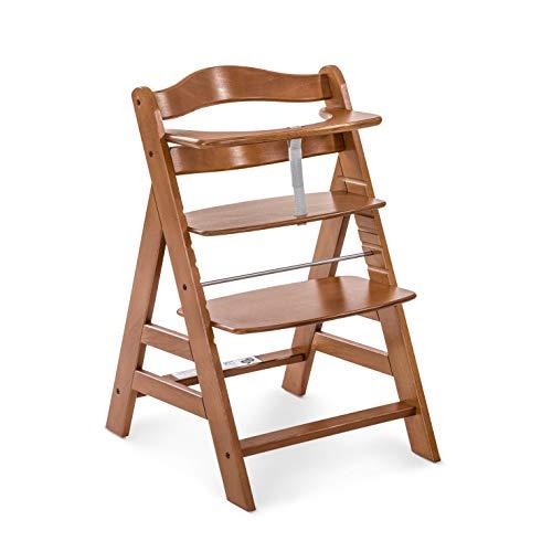 Hauck Holz Hochstuhl Alpha + für Kinder ab 6 Monaten bis 90 kg belastbar / verstellbar / mitwachsend / für Babys ab Geburt nutzbar in Kombination mit Alpha Bouncer Newborn Set / dunkel braun