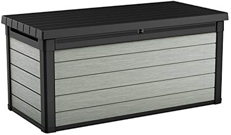 Koll Living Garden Aufbewahrungsbox Denali 150, 570L, grau - hochwertiger Kunststoff in Holzoptik - maximale Belastbarkeit ca. 300 kg - mit Gasdruckfedern - UV- & wetterBestendig