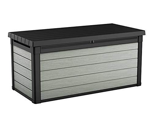 Koll Living Garden Aufbewahrungsbox 570L, grau - hochwertiger Kunststoff in Holzoptik - maximale Belastbarkeit ca. 300 kg - mit Gasdruckfedern - UV- & wetterbeständig