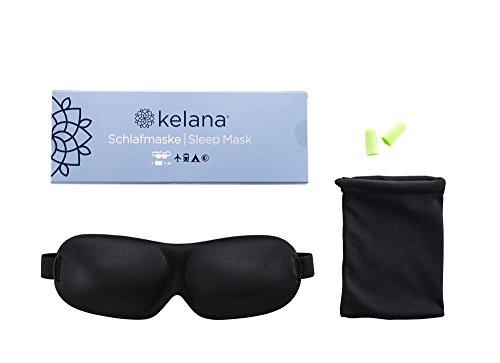 Kelana Schlafmaske Damen und Herren. Premium Schlafbrille mit innovativ gewölbter Form für komplette Dunkelheit und freies Bewegen der Augen. Inklusive Ohrstöpsel, Aufbewahrungsbeutel