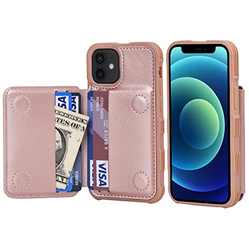 Arae for iPhone 12 Mini Case - Wallet Case with PU Leather Card Pockets Back Flip Cover for iPhone 12 Mini 5.4 inch - Rose Gold