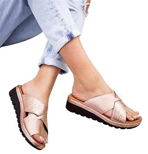 ONEYMM Sandalias Correctoras Zapatillas Juanete Ortopédicas Moda Cómodos para Mujer Suave Casuales Antideslizante Respirable Playa Verano Zapatos de Viaje Corrector De Juanetes,Oro,38