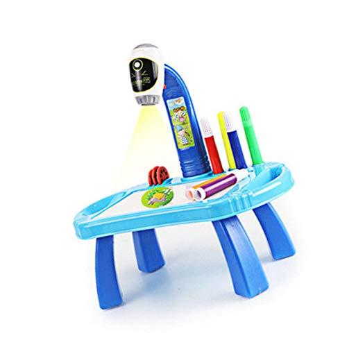 aniceday Proyector de pintura para niños, juguete educativo para niños con música, proyector musical ligero de aprendizaje temprano, pintura de dibujo y escritorio de juguete