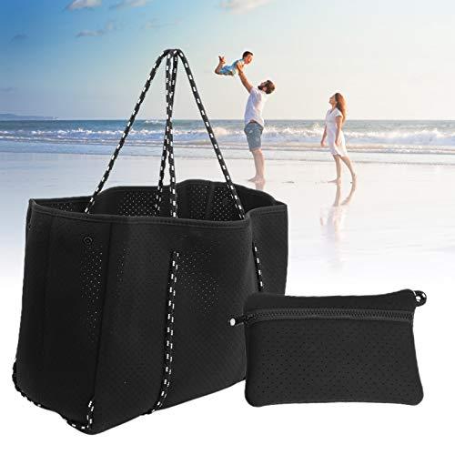 HAOX Bolso de Playa de Neopreno, Bolso pequeño para Colgar Incorporado, Bolso de Mano Informal, diseño Perforado novedoso y Moderno, práctico y Conveniente para Viajes de Oficina(Black)