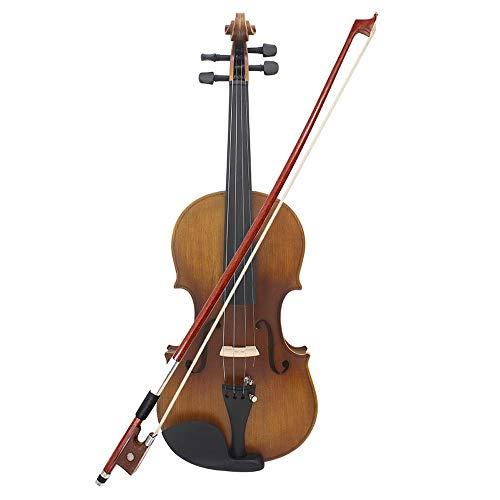 LOIKHGV Geige- 4/4 Full Size Violine Geige Mattes Finish Fichtengesicht Brett Ebenholz Griffbrett 4-Saiter Instrument mit Hard Case Bogen Kolophonium Reinigen, wie abgebildet